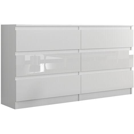TROGIR W1 | Commode contemporaine chambre salon bureau | 120x30x76 | 6 tiroirs | Meuble de rangement scandinave | Dressing moderne | Blanc Gloss