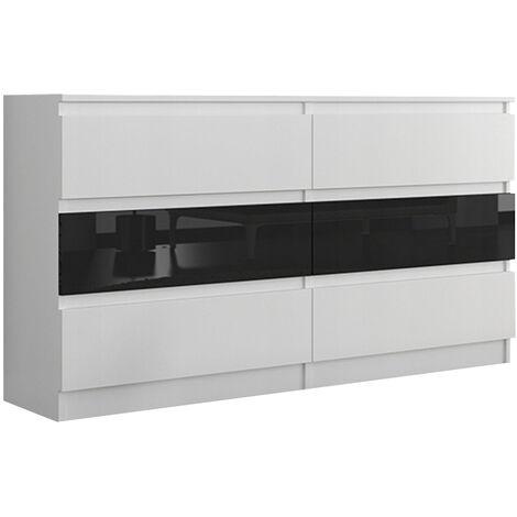 TROGIR W1 | Commode contemporaine chambre salon bureau | 120x30x76 | 6 tiroirs | Meuble de rangement scandinave | Dressing moderne | Blanc/Noir Gloss