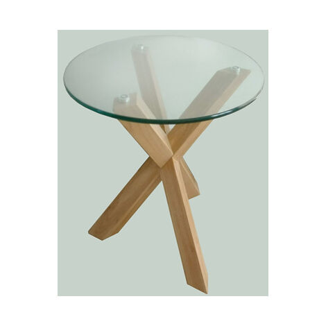 Troil Modern Oak Legs And Clear Glass Lamp Table