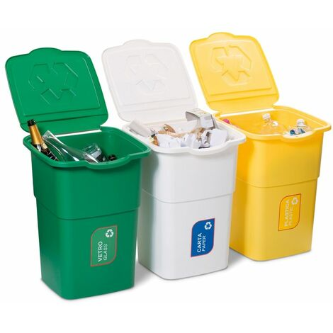 Trois poubelles modulaires - 3PCS x 50LT pour la collecte séparée des déchets - ouverture avec serrure de sécurité anti-pluie