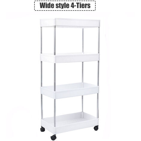 Trolley Cart4 Tier Utility Rolling Storage Rack Holders Saver Hooks Kitchen Wide Style