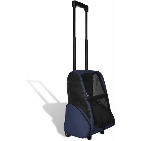 Carrito trolley plegable multiusos para mascotas azul