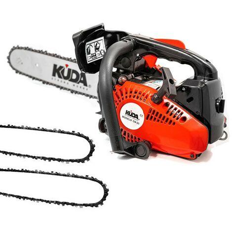 Tronçonneuse à essence KUDA 25,4 cc 1,29cv deux chaine extras et guide de 30cm
