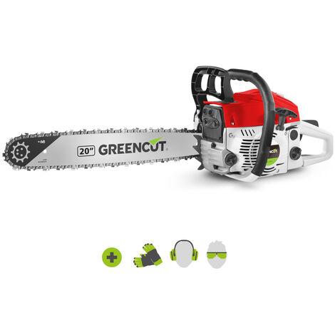 """main image of """"Tronconneuse GS620X moteur à essence 2 temps 62cc 3,8cv. Épée de 20 pouces. Nombre de dents 86. Guidon ergonomique. - Greencut"""""""