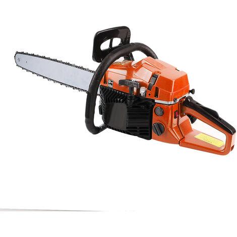 Tronçonneuse thermique 52 cm3, guide 45 cm, 2 chaines, orange