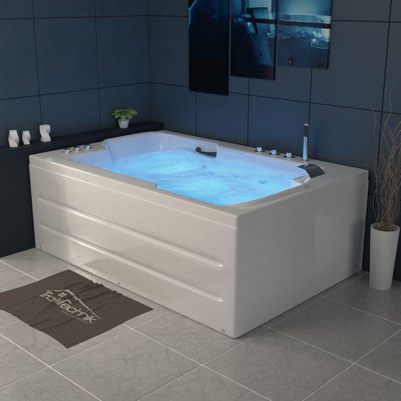 Hydromassage und Farblichtherapie Tronitechnik Whirlpool Badewanne Santorini wei/ß 150cm x 150cm mit Heizung
