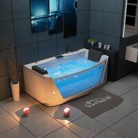TroniTechnik Whirlpool Badewanne MILOS 180cm x 88cm mit Heizung, Wasserfall, Hydromassage und Farblichtherapie