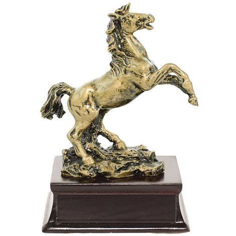 Trophy prancing horse with wooden base small size