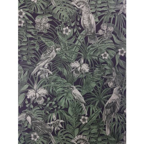 Tropical Birds Palm Leaf Wallpaper Green Black Paste Wall Vinyl A.S Creation