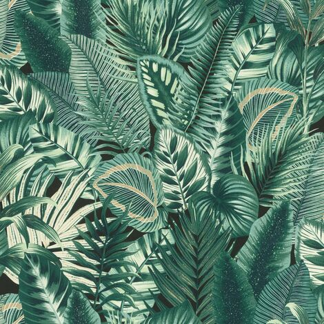 Tropical Jungle Wallpaper Rasch Palm Leaf Textured Vinyl Green Paste The Wall