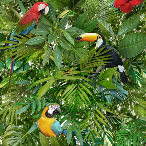"""main image of """"Tropical Jungle Wallpaper Toucan Parrot Bird Pattern Flower Leaves Leaf Muriva"""""""