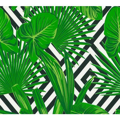 Tropical Leaf Wallpaper Leaves Diamond Geometric Green Black White Paste Wall