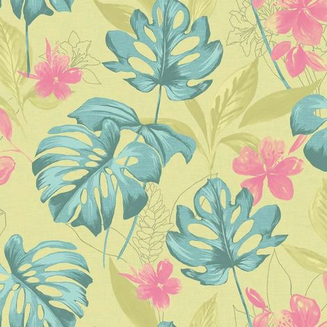 Tropical Leaf Wallpaper Lime Teal Flowers Floral Paste The Wall Holden Panama