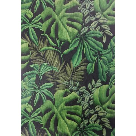 Tropical Palm Leaf Wallpaper Green Black Textured Paste Wall Vinyl A.S Creation