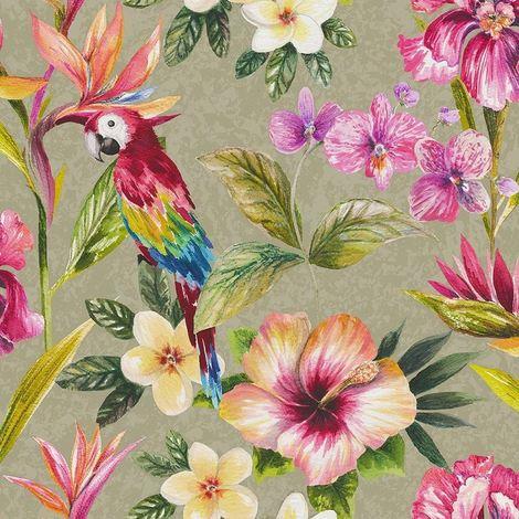 (WL-98820 = WL-98431) Tropical Parrot Wallpaper Birds Flowers Floral Leaves Leaf Metallic Shiny Gold