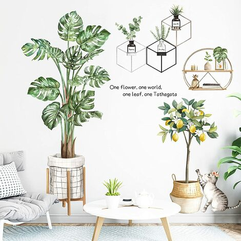 Tropical Plants Green Leaves Wall Stickers, Palm Trees Wall Decals, Lemon Cat Wall Decor for Bedroom Living Room Classroom Office Home Decor