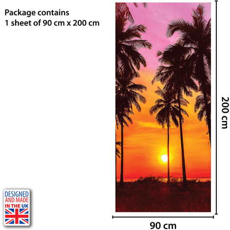 Tropical Sunset Self-Adhesive Door Mural Sticker For All Europe Size 90Cm X 200Cm