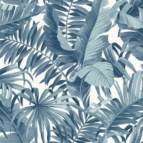 Tropical Wallpaper Leaf Palm Tree Blue White A Street Prints Paste The Wall