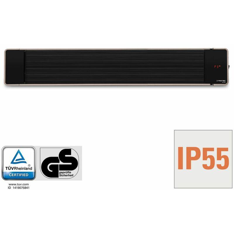 Incluye soporte de pared y techo Radiadores de terraza| 1.800 W Para exteriores IP55 clase de protecci/ón TROTEC Calefactor por radiaci/ón de luz negra IRD 1800| Radiador Infrarrojo