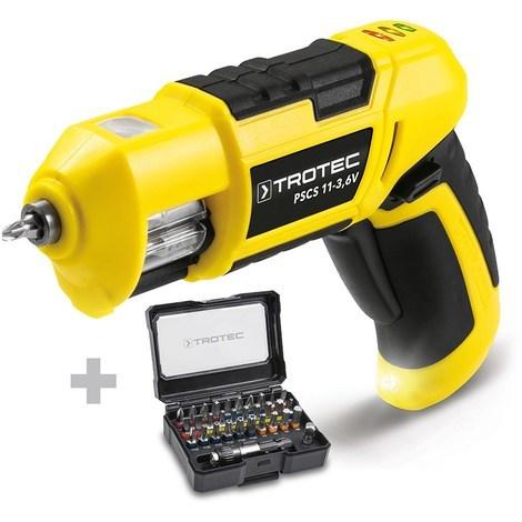 TROTEC Taladro atornillador de batería PSCS 11-3,6V + Juego de 32 puntas