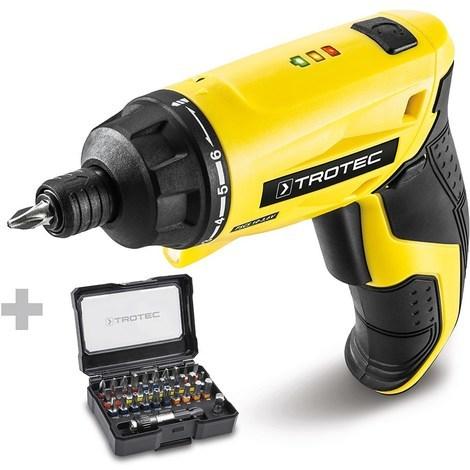 TROTEC Taladro atornillador de batería recto PSCS 10-3,6V + Juego de 32 puntas