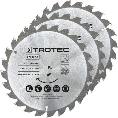 TROTEC Wood circular saw blade set Ø 150 mm (24 teeth), 3 pieces