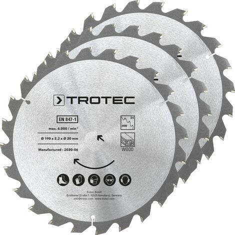 TROTEC Wood circular saw blade set Ø 190 mm (24 teeth), 3 pieces
