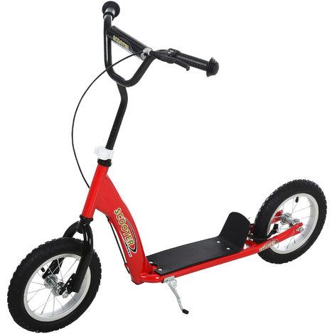 Trottinette patinette enfants à partir de 5 ans grandes roues guidon réglable poignée frein et béquille acier rouge