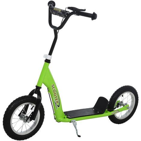 Trottinette patinette enfants à partir de 5 ans grandes roues guidon réglable poignée frein et béquille acier vert