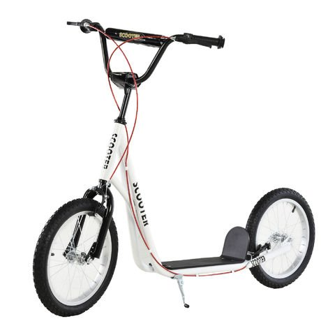 Trottinette patinette pour enfants à partir de 5 ans grands pneus guidon réglable poignée frein et béquille acier blanc