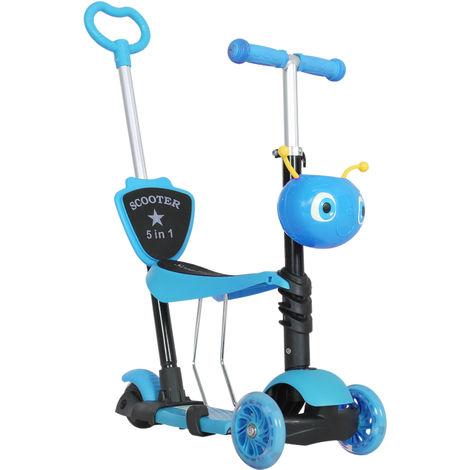 Trottinette pour enfants trottinette 3 roues évolutive 3 en 1 hauteur guidon réglable canne telescopique selle dossier amovible bleu