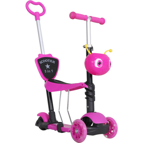 Trottinette pour enfants trottinette 3 roues évolutive 3 en 1 hauteur guidon réglable canne telescopique selle dossier amovible rose
