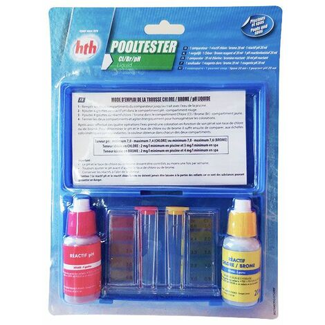 Trousse d'analyse Pooltester Chlore / Brome / pH Liquide HTH -