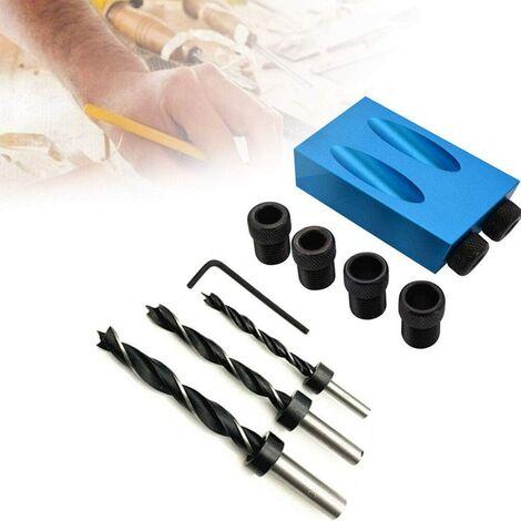 Trousse de gabarit pour trou de poche à entraînement en angle de 15 degrés avec adaptateur de lecteur de trou de 6/8 / 10mm pour guide de perçage à angle au bois