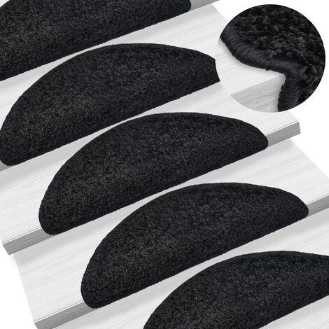 True Deal 15 pcs Tapis d'escalier Noir 65 x 25 cm