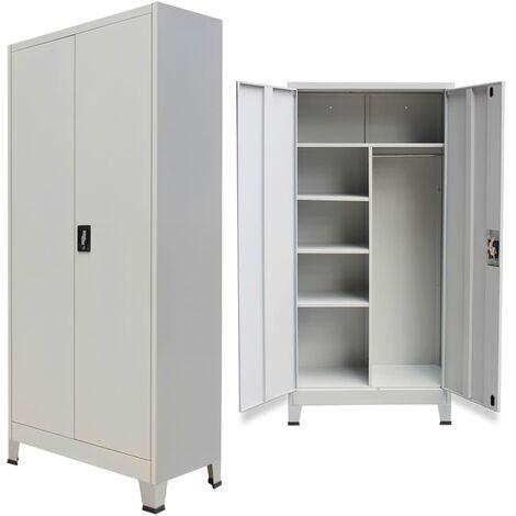 True Deal Armoire verrouillable avec 2 portes Acier 90 x 40 x 180 cm Gris