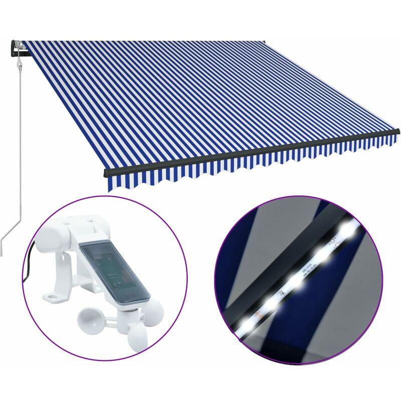 True Deal - Auvent avec capteur de vent et LED 350x250 cm Bleu et blanc