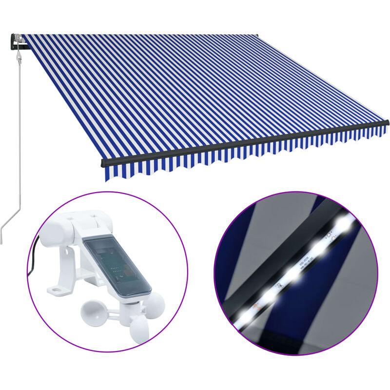 Auvent avec capteur de vent et LED 400x300 cm Bleu et blanc