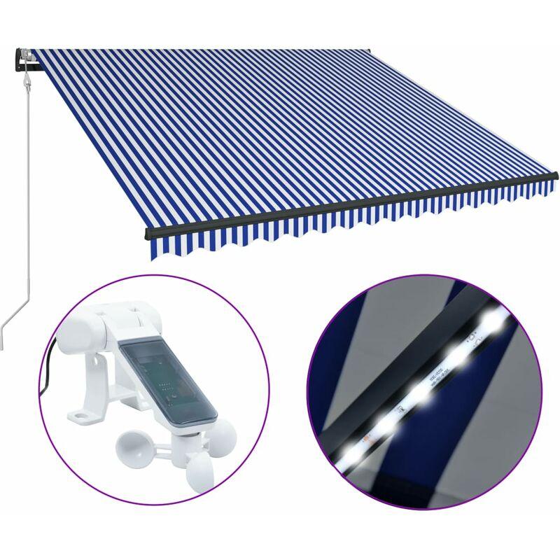 True Deal - Auvent avec capteur de vent et LED 450x300 cm Bleu et blanc