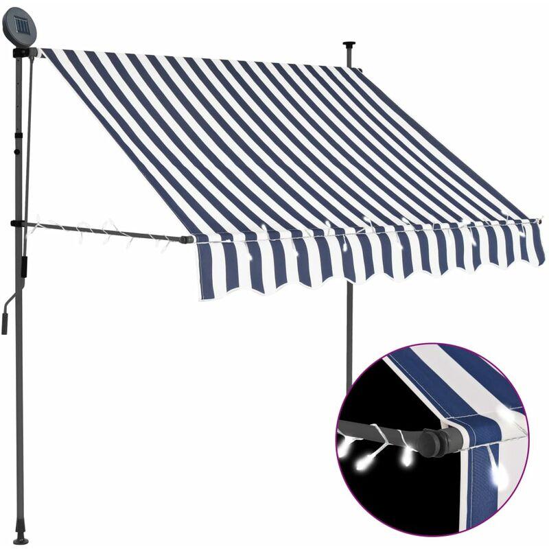 Auvent manuel rétractable avec LED 100 cm Bleu et blanc