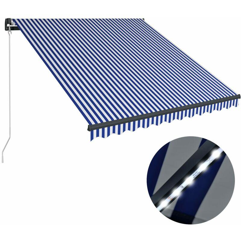 Auvent manuel rétractable avec LED 350x250 cm Bleu et blanc