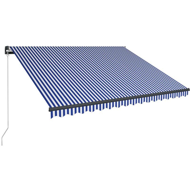 Auvent manuel rétractable avec LED 450x300 cm Bleu et blanc