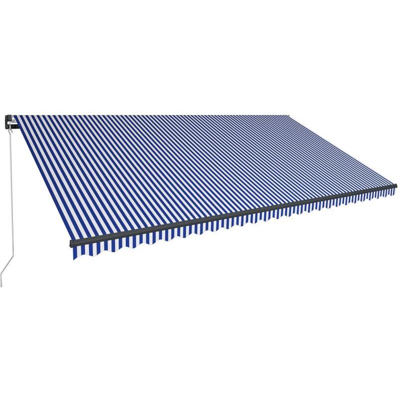 True Deal - Auvent manuel rétractable avec LED 600x300 cm Bleu et blanc