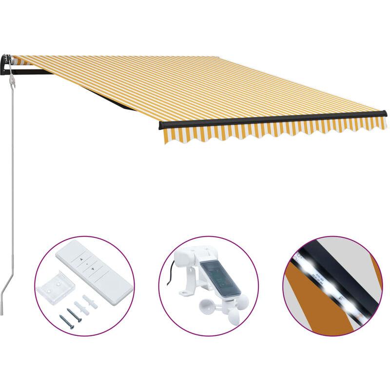 Auvent rétractable capteur de vent LED 300x250cm Jaune et blanc