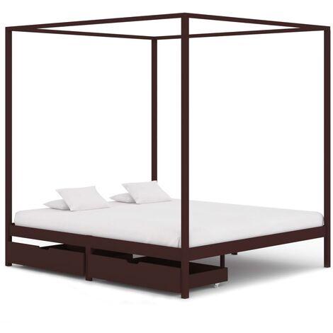 True deal Cadre de lit baldaquin et 2 tiroirs Marron foncé Pin 180x200 cm