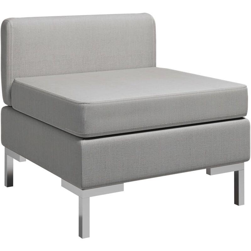 True Deal - Canapé central sectionnel avec coussin Tissu Gris clair