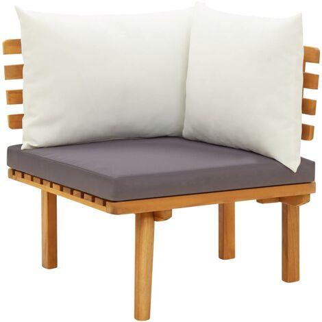 True Deal Canapé d'angle de jardin avec coussins Bois d'acacia massif