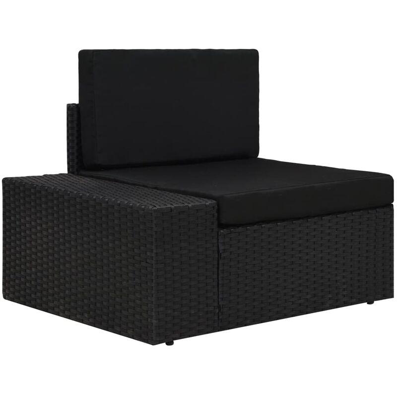 Canapé d'angle sectionnel accoudoir droit Résine tressée Noir - True Deal