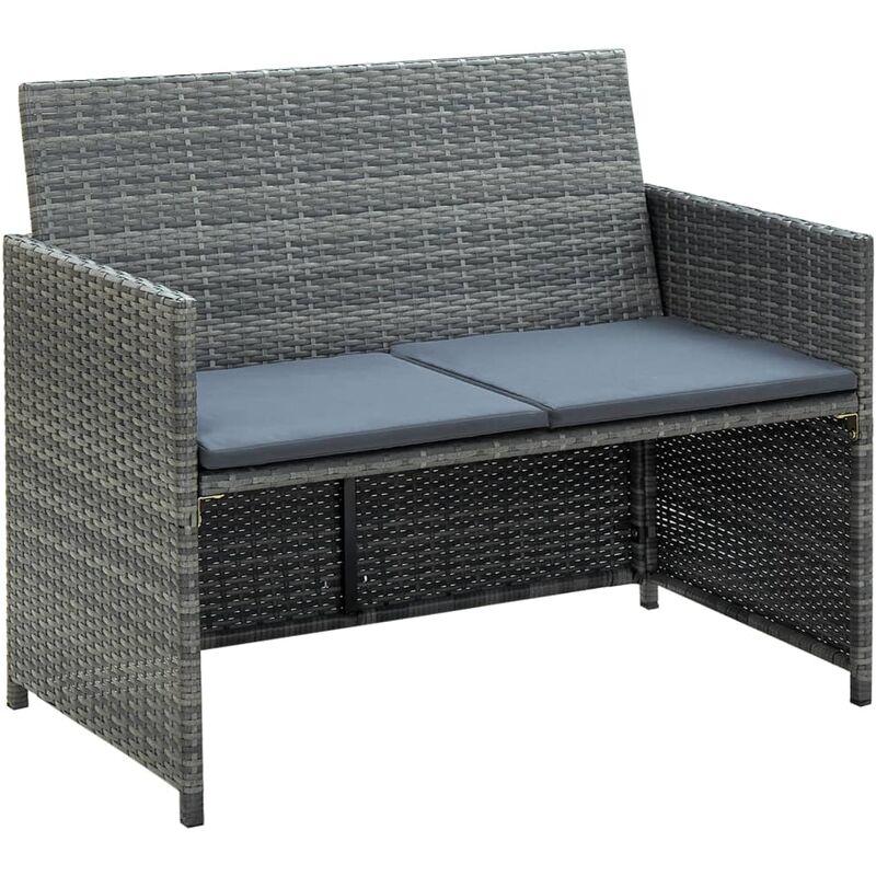 Canapé de jardin à 2 places avec coussins Gris Résine tressée