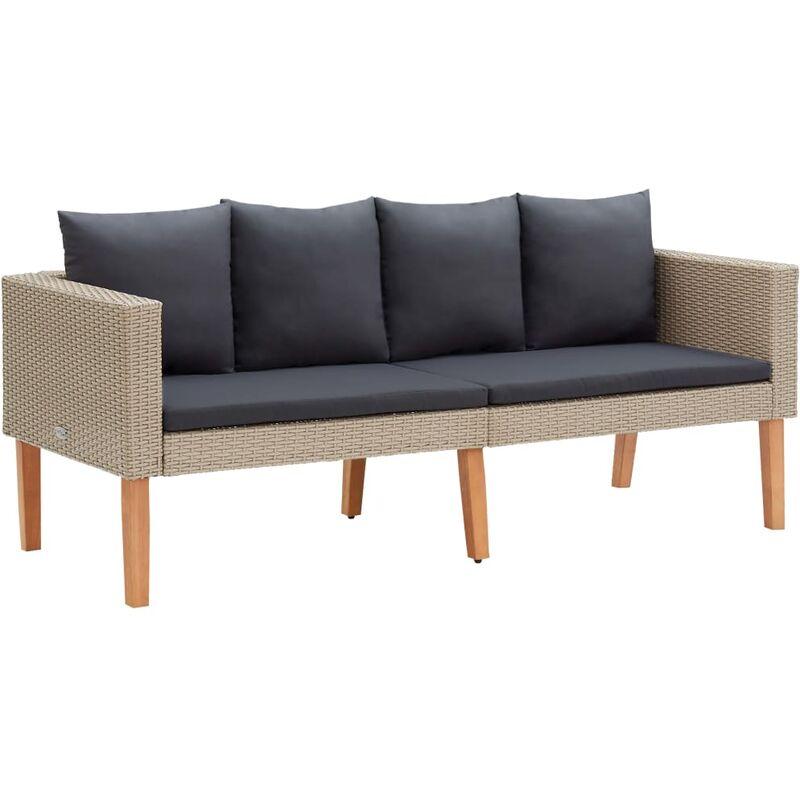 Canapé de jardin à 2 places avec coussins Résine tressée Beige